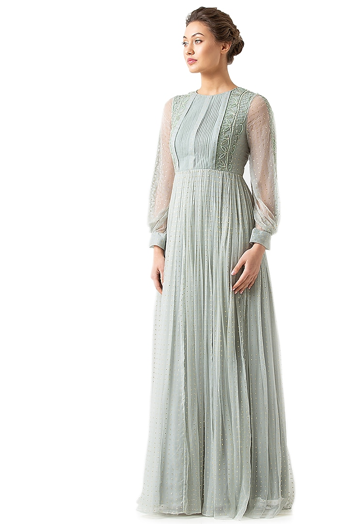 Mint Green Gathered Viscose Gown by Geisha Designs