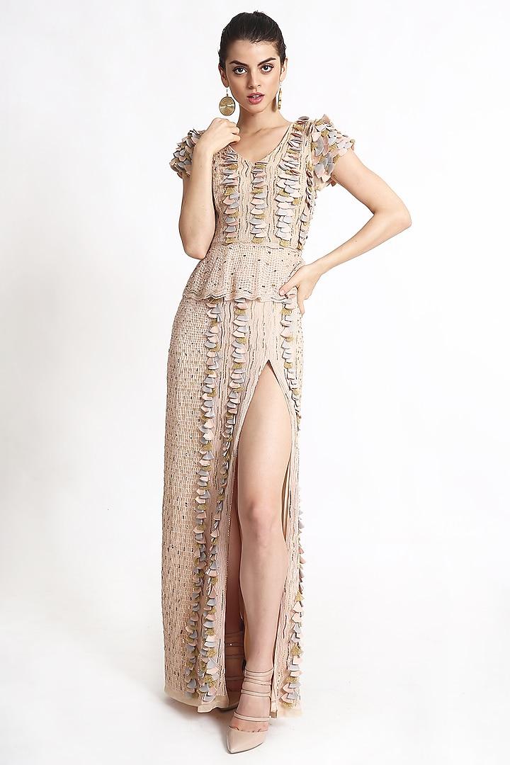 Beige Embroidered Gown by Geisha Designs