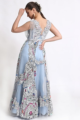 Blue Beads Embroidered Gown by Geisha Designs