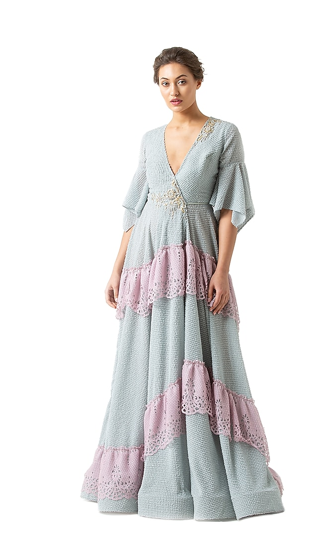 Blue Polyester Textured Gown by Geisha Designs
