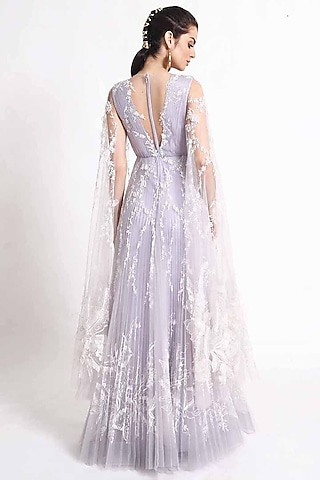 Purple Embroidered Gown by Geisha Designs