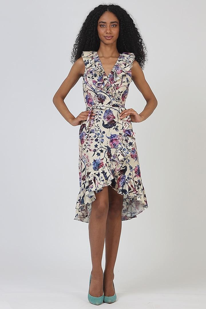 Grey Cotton Draped Dress by Geisha Designs