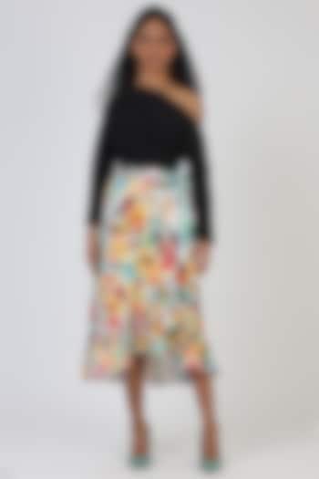 Green Cotton Wrap Skirt by Geisha Designs