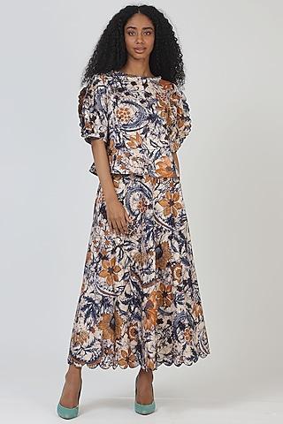 Blue Cotton Printed Skirt by Geisha Designs