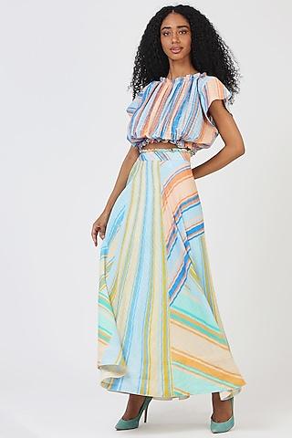 Green Rayon Striped Skirt by Geisha Designs