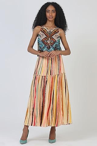 Orange Rayon Tiered Skirt by Geisha Designs