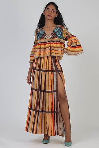 Orange Viscose Skirt With Side Slit by Geisha Designs