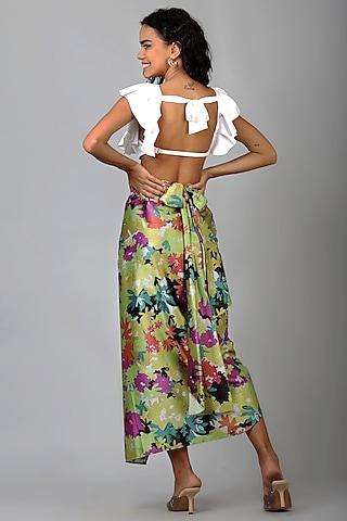 Green Floral Slit Skirt by Geisha Designs