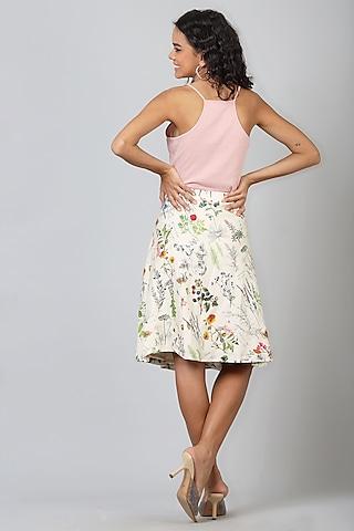 Beige Printed Wrap Skirt by Geisha Designs