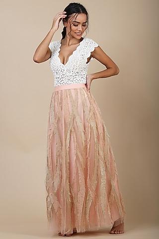 Peach Nylon Skirt With Applique Work by Geisha Designs