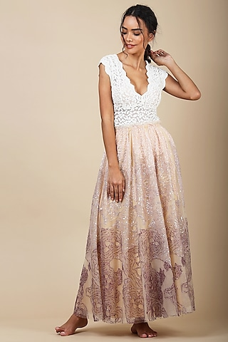 Pink Nylon Sequins Skirt by Geisha Designs
