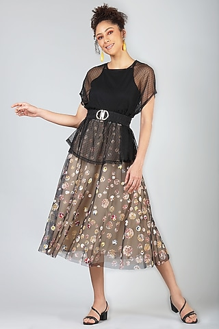 Beige Skirt With Polka Dots by Geisha Designs