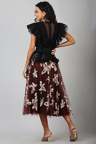 Maroon Nylon Skirt With Applique Work by Geisha Designs