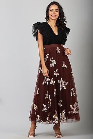 Maroon Nylon Midi Skirt With Applique Work by Geisha Designs