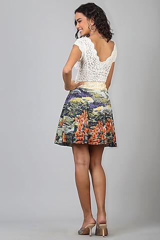 Green Polyester Mini Skirt by Geisha Designs