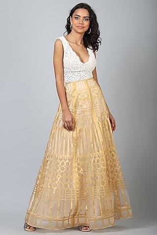 Golden Nylon Maxi Skirt by Geisha Designs