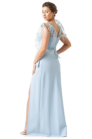 Light Blue Polyester Gown by Geisha Designs