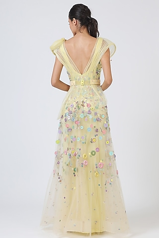 Yellow Embroidered Gown by Geisha Designs