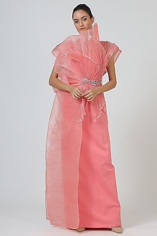 Pink Structured Polyester Gown by Geisha Designs