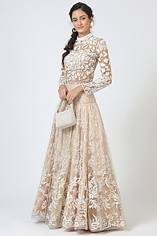 Off White Embroidered Lehenga With Blouse by Geisha Designs-GEISHA DESIGNS