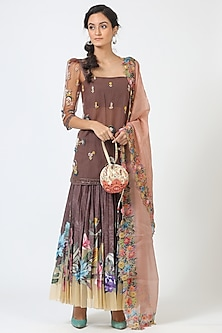 Brown Embroidered Kurta Set by Geisha Designs-POPULAR PRODUCTS AT STORE