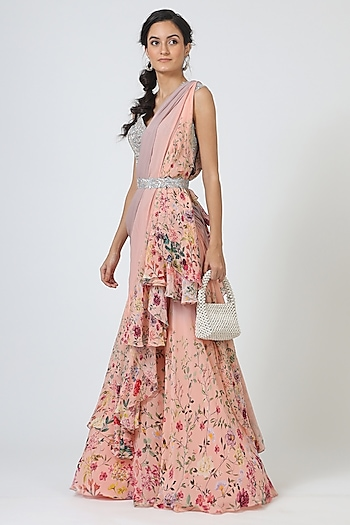 Blush Pink Printed Saree Set by Geisha Designs