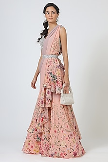 Blush Pink Printed Saree Set by Geisha Designs