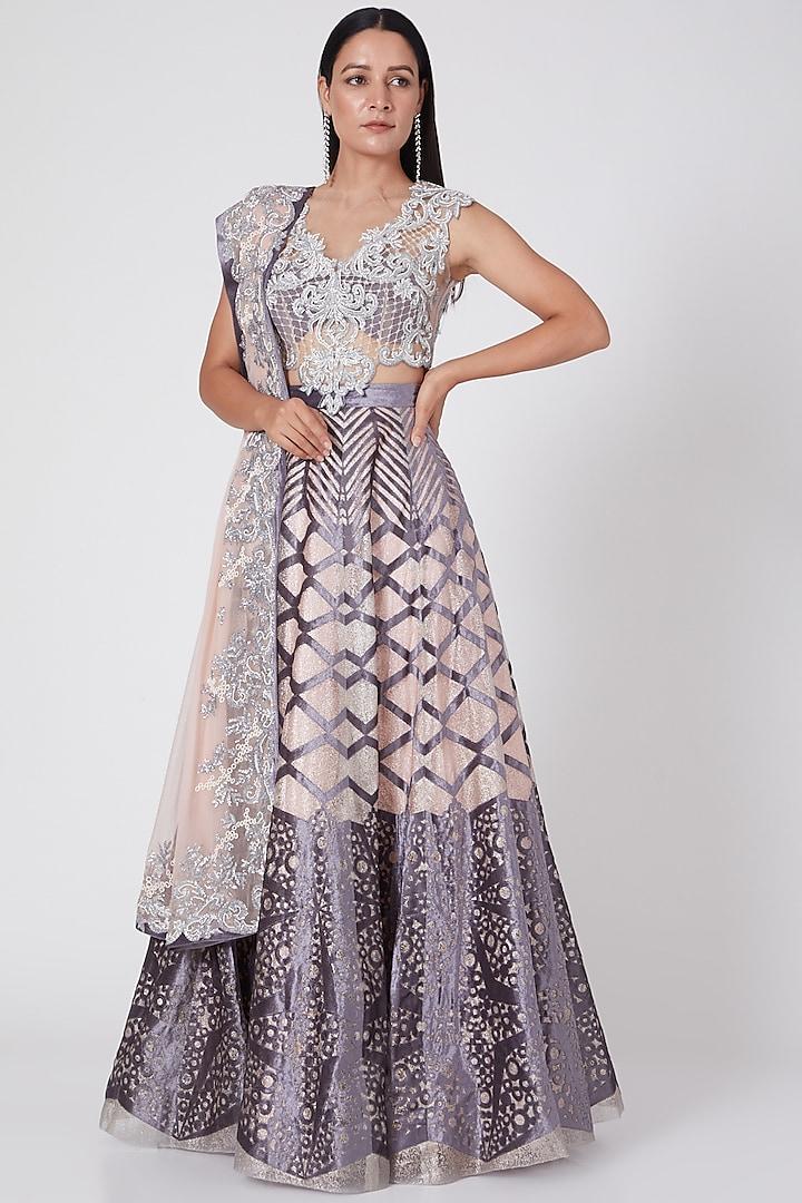 Blush Pink & Grey Embroidered Lehenga Set by Geisha Designs