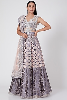 Blush Pink & Grey Embroidered Lehenga Set by Geisha Designs-POPULAR PRODUCTS AT STORE