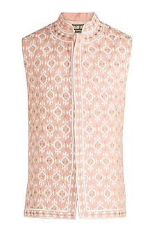 Light Pink Embroidered Bundi Jacket by Gagan Oberoi