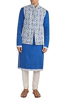 Blue Patchwork Embroidered Bundi Jacket by Gagan Oberoi