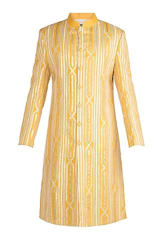 Mango Yellow Embroidered Sherwani by Gagan Oberoi