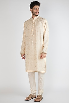 Light Beige Embroidered Kurta by Gagan Oberoi