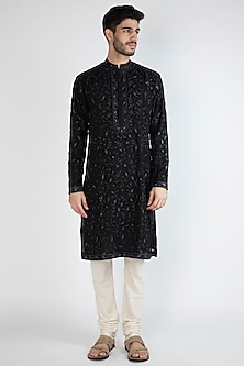 Black Embroidered Georgette Kurta by Gagan Oberoi