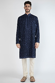 Navy Blue Thread Embroidered Kurta by Gagan Oberoi