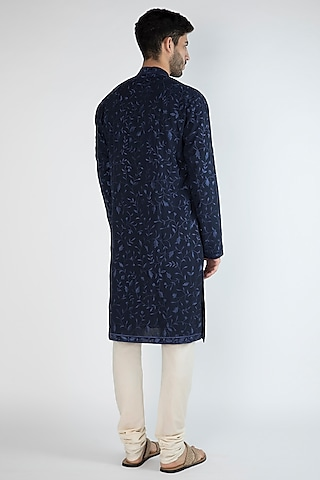 Navy Blue Thread Embroidered Kurta by Gagan Oberoi