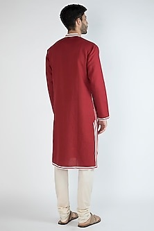 Red Gota Embroidered Kurta by Gagan Oberoi