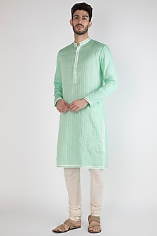 Light Blue Gota & Thread Embroidered Kurta by Gagan Oberoi