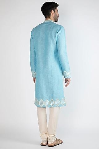 Light Blue Embroidered Kurta by Gagan Oberoi