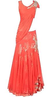 Orange draped blouse lehenga by Gaurav Gupta