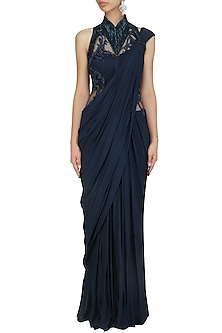 Midnight Blue Bugle Beads Embroidered Saree Gown by Gaurav Gupta