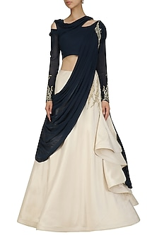 Midnight Blue and Ecru Off Shoulder Saree Lehenga by Gaurav Gupta