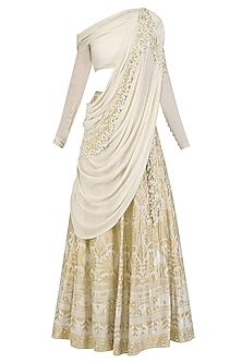 Calico Ecru Pearl and Cutdana Embroidered Saree Lehenga by Gaurav Gupta