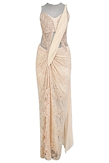 Powder Pink Pearl and Cutdana Embroidered Saree Gown by Gaurav Gupta