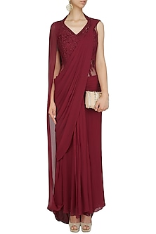 Deep Red Floral Thread Embroidered Saree Gown by Gaurav Gupta