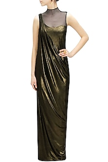 Copper shimmer jersey drape gown by Gaurav Gupta-POPULAR PRODUCTS AT STORE