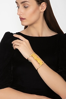 Gold Finish Egyptian Cluster Cuff by Gauri Himatsingka