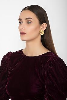 Gold Finish Circular Chips Stud Earrings by Gauri Himatsingka