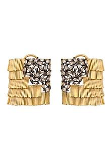 Gold & Black Rhodium Finish Earrings With American Diamonds by Gauri Himatsingka
