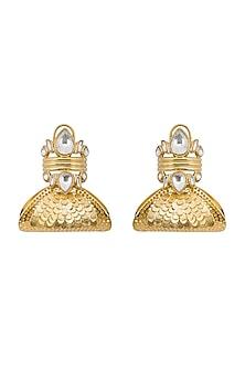 Gold Finish Polki Earrings by Gauri Himatsingka